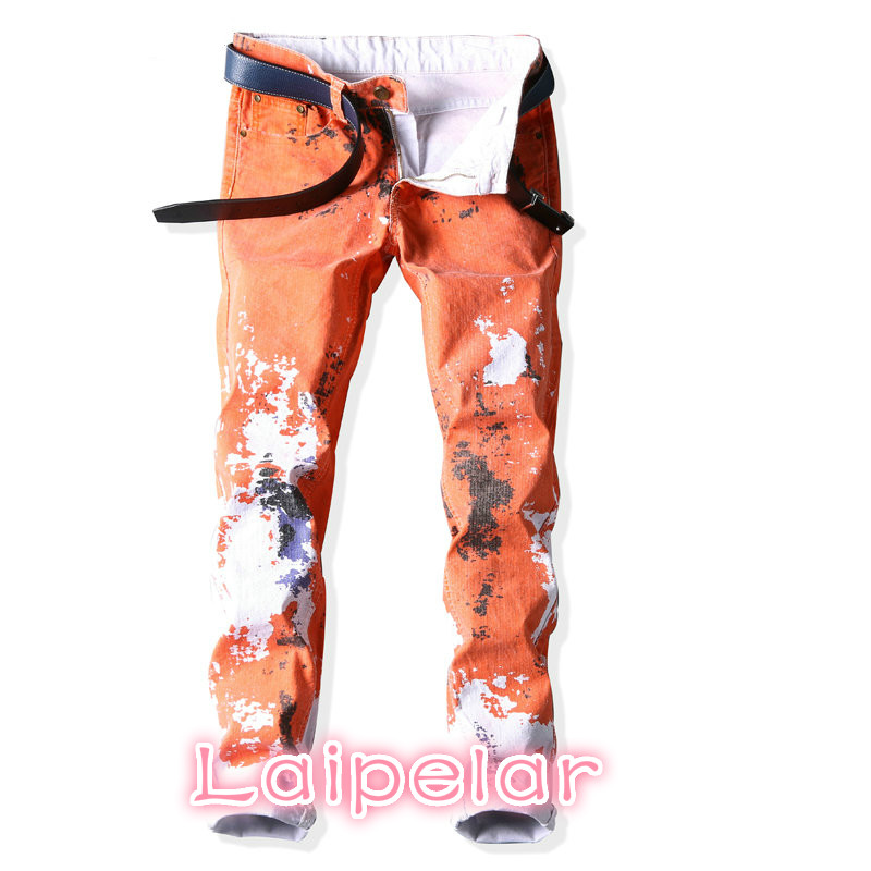 Laipelar Printed Jeans Men Fashion Orange Casual Slim Straight Painted Pants Mens Brand Ink Printing Trousers Hombre