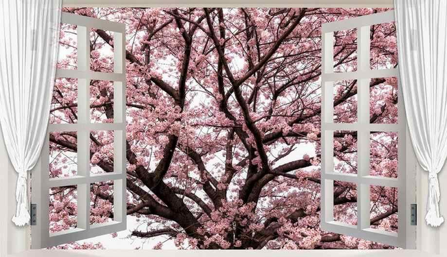 Tamanho personalizado Romântico Para Fora da janela 3D Estereoscópico Cherry Tree Murais Quarto Sofá da Sala de Fundo Papel De Parede