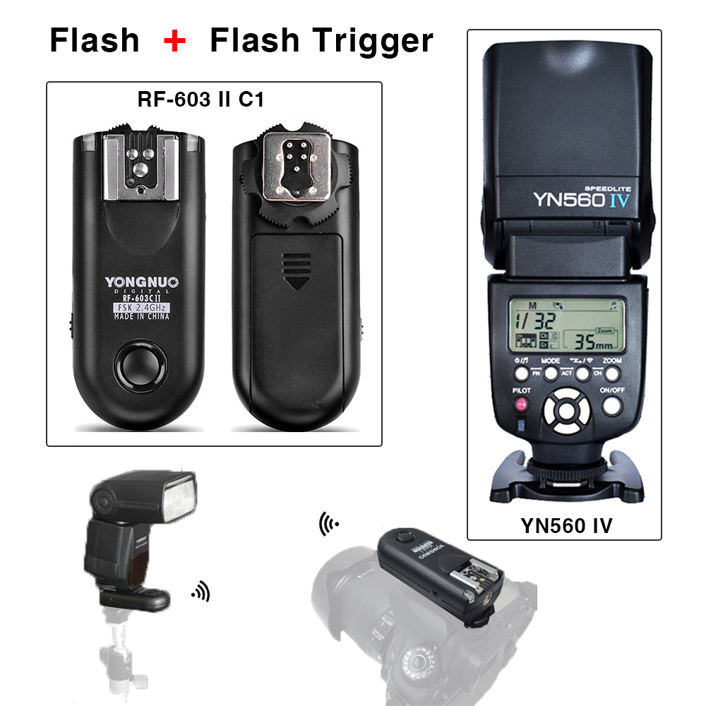 Flash Speedlite & Flash Trigger Shutter remote Yongnuo YN560 IV RF-603 II C1 Transceivers Universal flash Hot shoe For Canon yongnuo yn560 iv master radio flash speedlite rf 603 ii flash trigger for canon pentax olympus