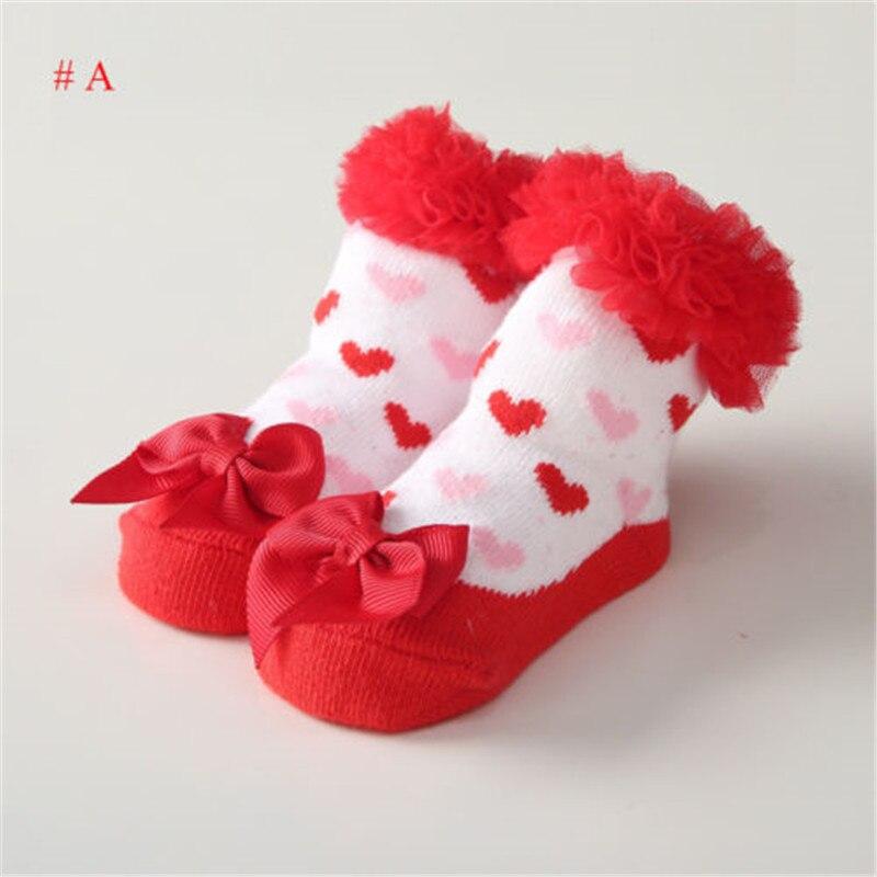 New 2018 Baby Girl Boy Cotton Anti-slip Socks 0-24 Months Newborn Baby Boys Girls Lace Flower Dot Bowknot Ankle Socks Wholesale
