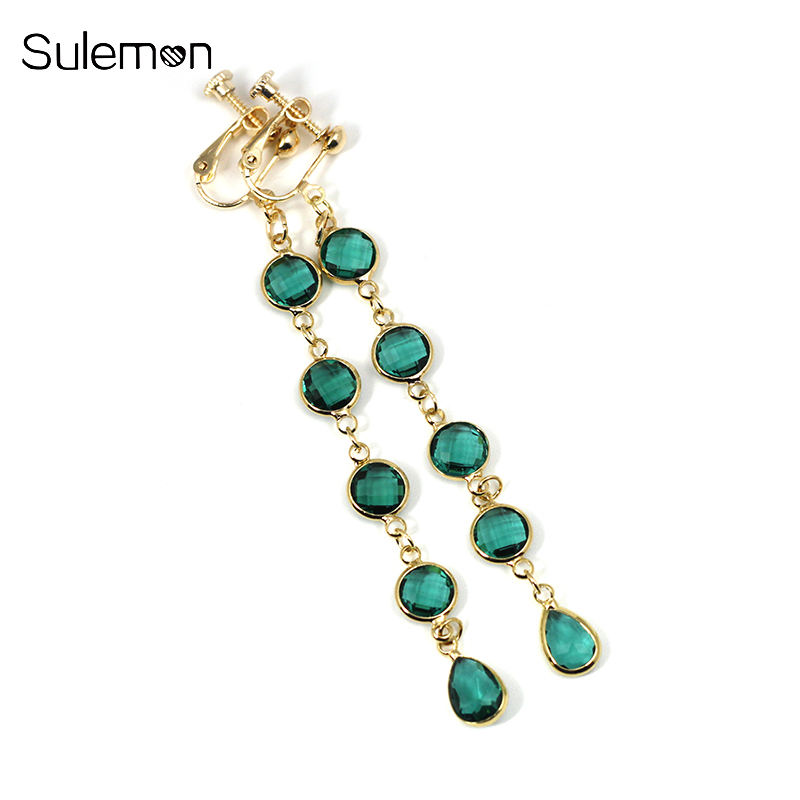 Clear Crystal Glass Earrings No Hole Ear Clip Blue&Green Glass Tassels Clip Earrings No Pierced Women Statement Earring CE169 2018 new clip no pierced jewelry young girl women delicate micro pave black cz stack 925 silver fashion elegant ear cuff earring