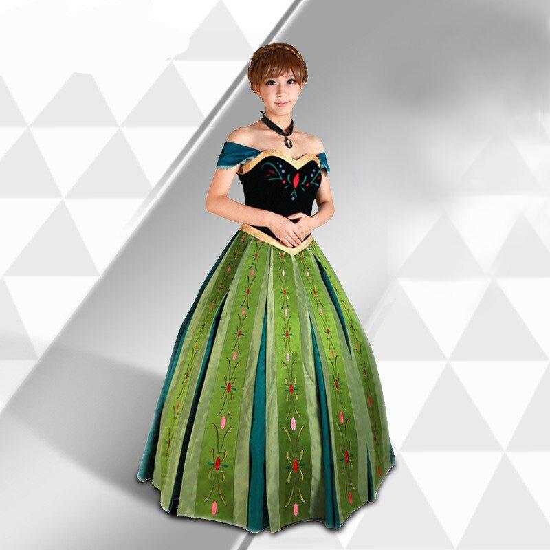 Бесплатная доставка, платье для косплея принцессы Анны с вышивкой для взрослых, платье с анимацией для женщин, JQ 1366