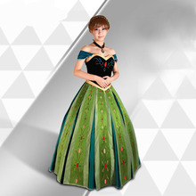 Free shipping adult FROZEN Princess Embroidery Anna Coronation Cosplay Dress Animation for women JQ-1366