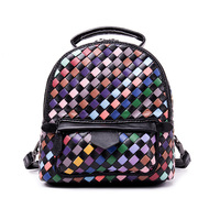 Casual Weaving Shoulders Messenger Shoulder Wave Backpack Creative Geometric Pattern Section Leather Handkerchief