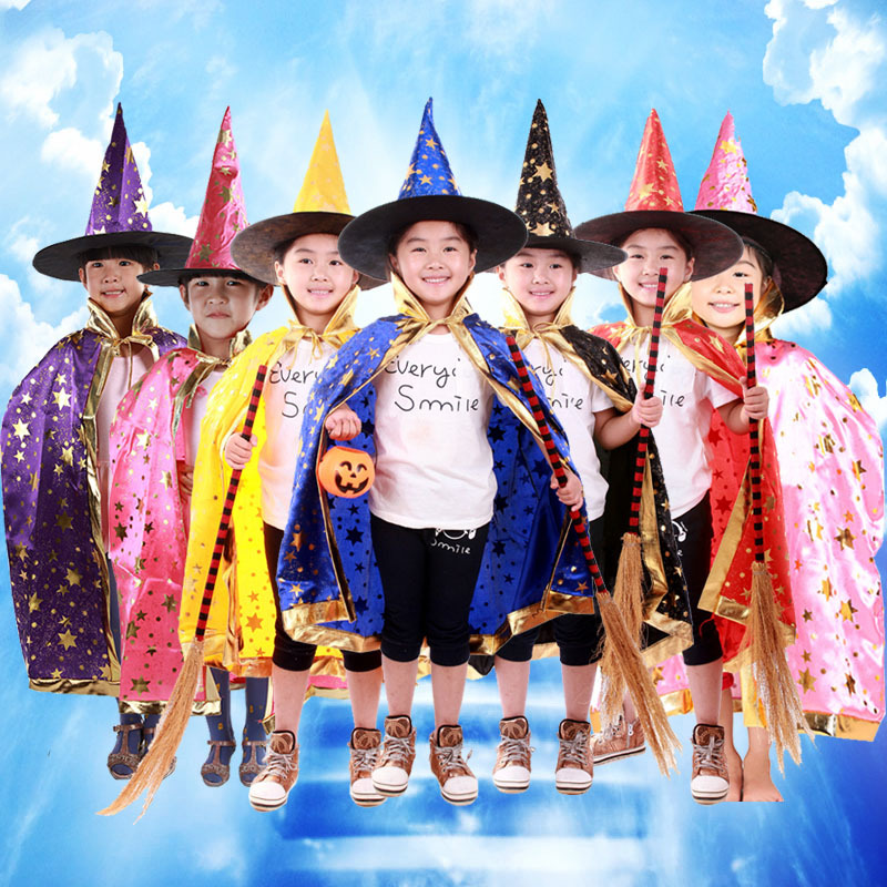 Halloween, five star cloak, children's party, costume magic, witch cloak hat, costume, dance accessories.