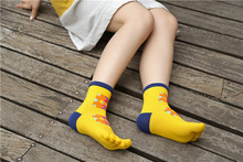 5 colors new design high quality pure cotton autumn winter happy novelty colorful geometric pattern ladies women brand toe socks
