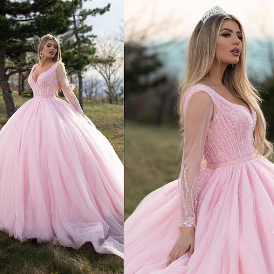 Pink Tulle V-neck Neckline Ball Gown Wedding Dresses With Beading Long Sleeves Court Train Grand Bridal Dress Vestido De Novia