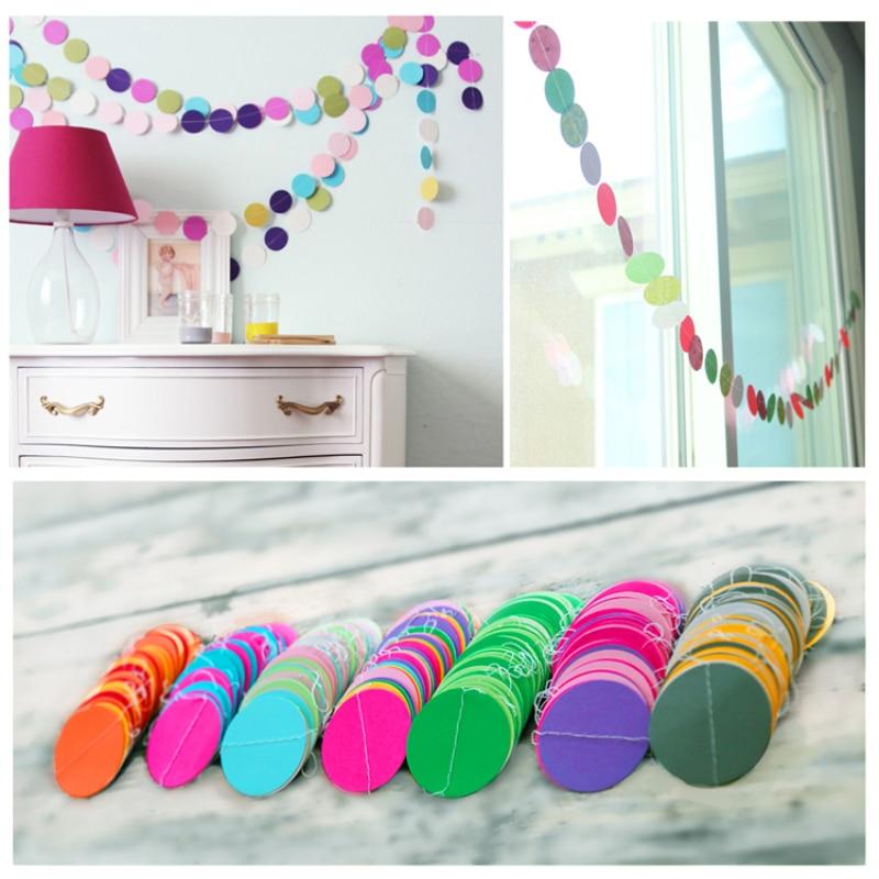 4 м креативные разноцветные Круглые бумажные гирлянды, баннеры розово-зеленого цвета круглой формы, баннеры для украшения свадебной вечери...