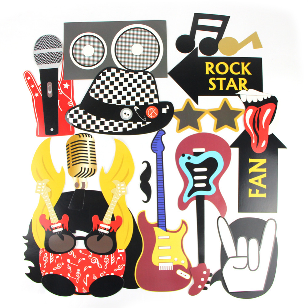 4 Pack Of 18 Party Photo Booth Props Rock Star Party Concert Vibes Rock N Roll Props Music Photo Booth Props Decor Supplies In Party Diy Decorations From Home Garden Bluetooth Non