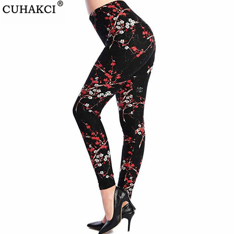Hot Print Flower Leggings Leggins Plus Size Legins Guitar Plaid Thin Pant Fashion Women Aptitud Trousers K092