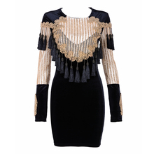 2017 Summer Dress Women Long Sleeve O-Neck Cerebrity Party Velvet Dress SexY Tassel Beading Black Women Dress Wholesale Vestidos