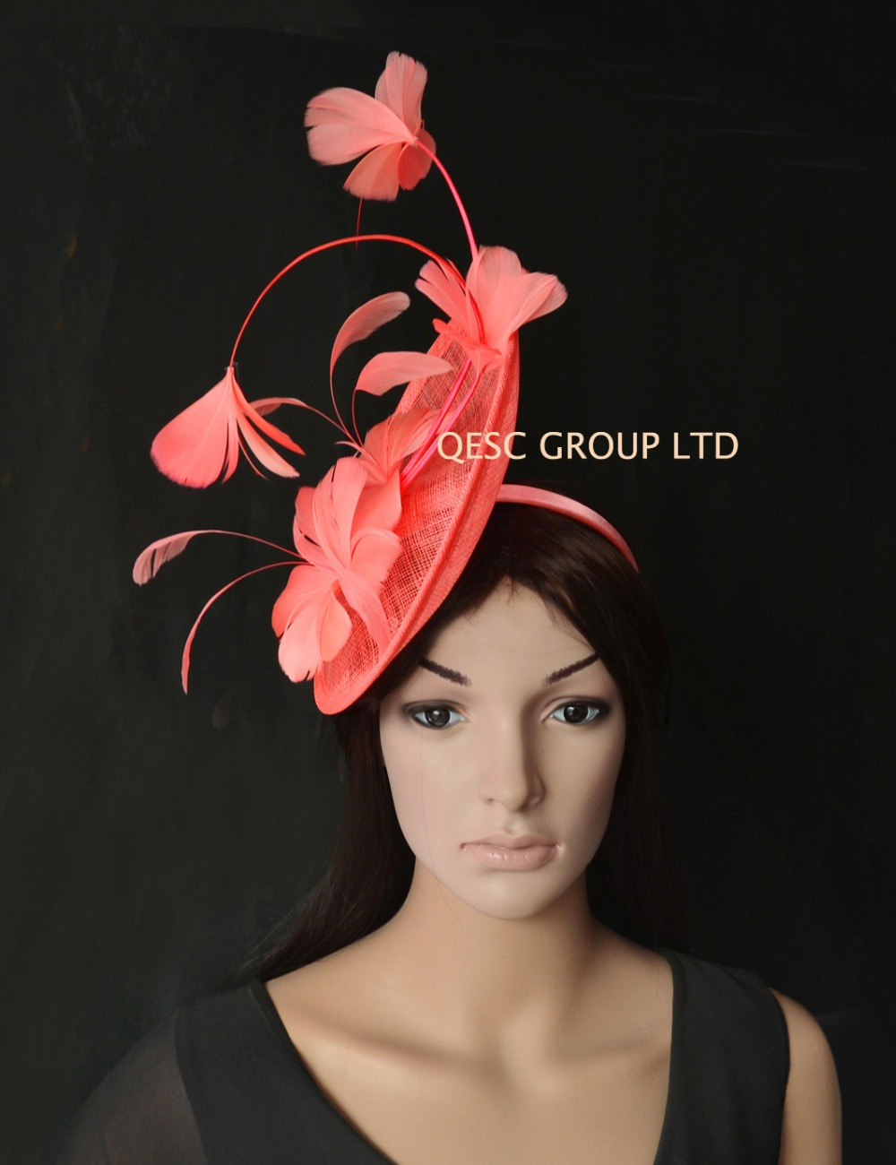 NEW Wholesale 9 Colours Coral Pink Big Sinamay Fascinator Hat Kentucky Derby For Melbourne Cup Races.QF115