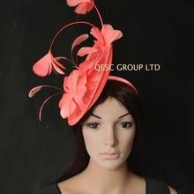 Новая 9 цветов кораллово-розовый большой головной убор Sinamay чародей шляпа Кентукки Дерби для гонок на Кубке. QF115