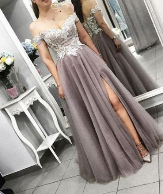 Великолепные шоколадные длинные платья для выпускного вечера с разрезом А образной линии, с аппликацией, фатиновые платья полной длины для