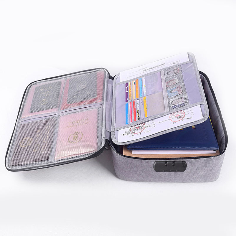 New Large Capacity Document File Bag With Password Lock Double-Layer  A4 File Document Storage Bag Multi-Function Travel Bag