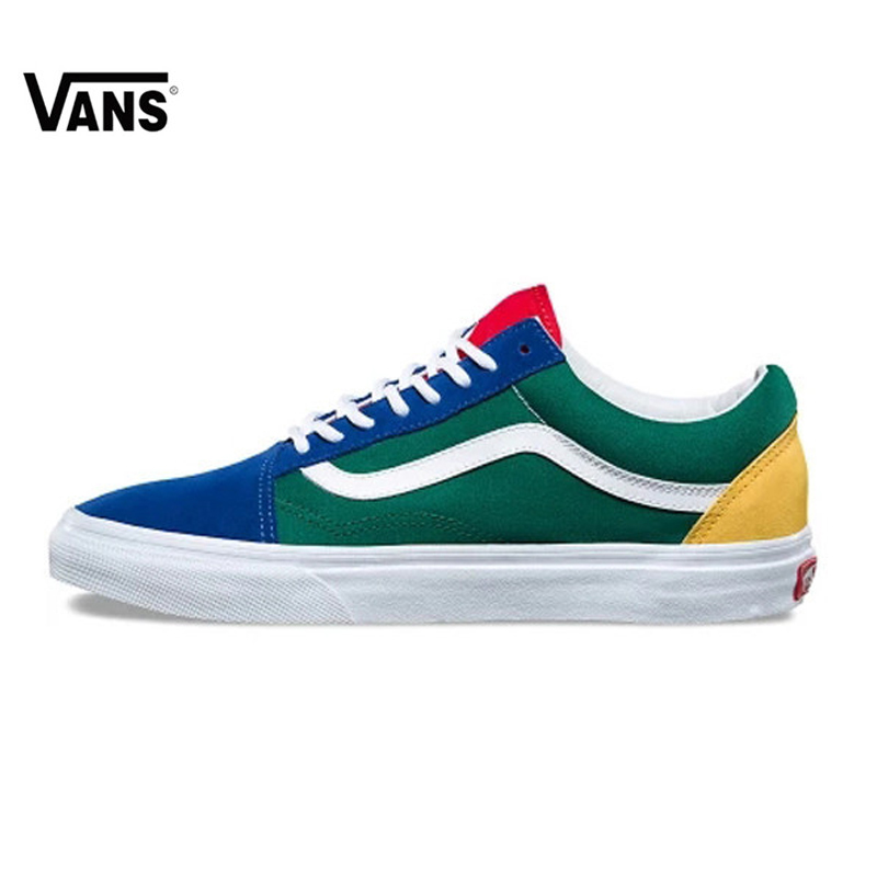 f8dd03fbe234 Vans Old Skool Original Skateboarding Shoes Outdoor Rainbow Retro Blue and  Green Color for Men VN0A38G1R1Q 40-44