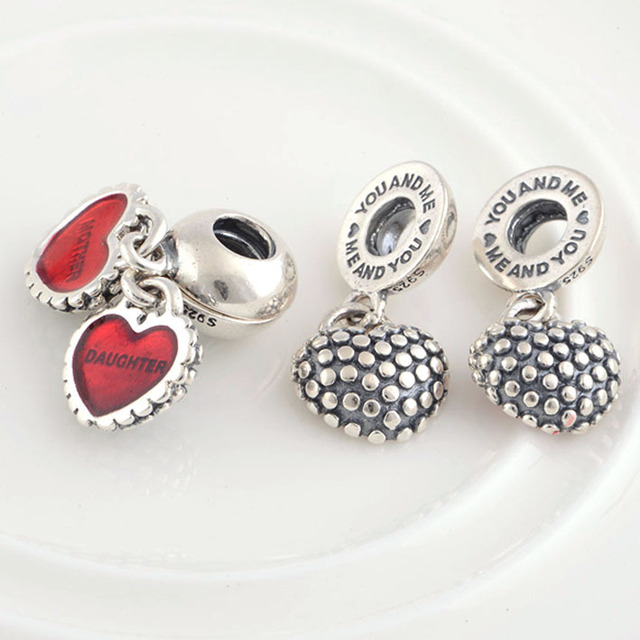 Hot Fits Pandora Charms Bracelet Necklace 925 Sterling Silver Mother Daughter Charm Pendant Enamel Heart