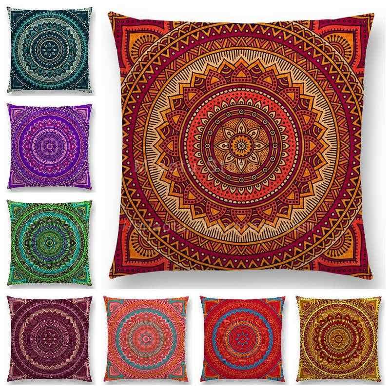 Hippie Mandala Boho Rainbow Floral Pattern Cushion Vintage Circle