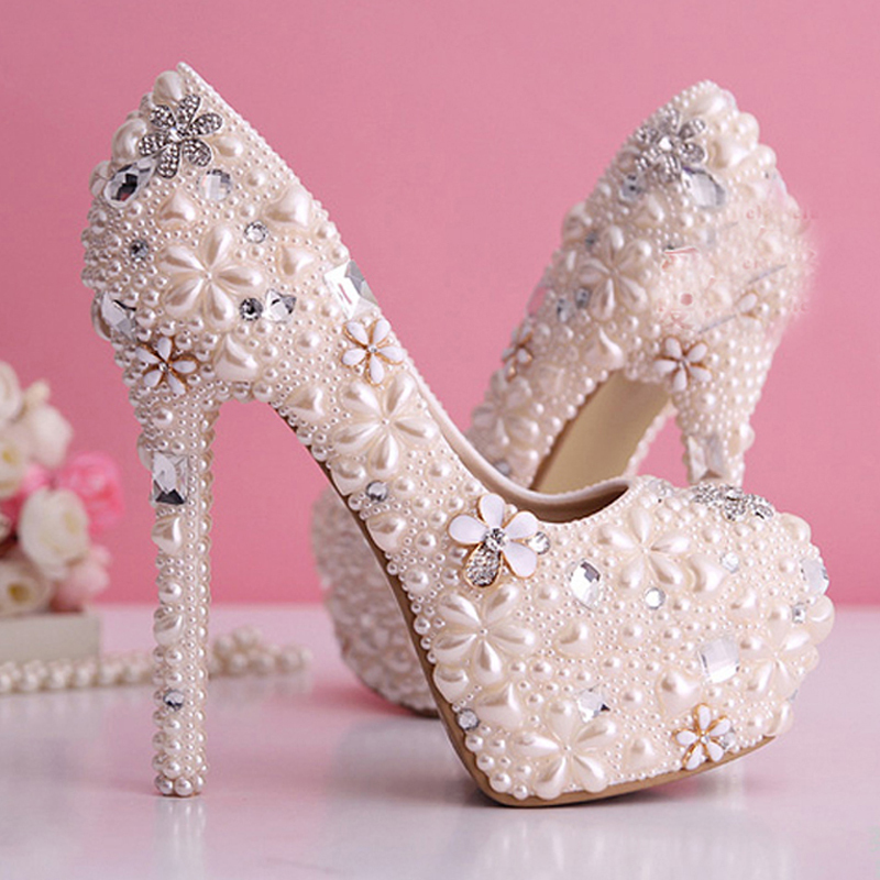 Gorgeous Pearl Wedding Dress Shoes Rhinestone Bridal Shoes high heel Platform Pumps Light Pink Lady Woman Party Prom Shoes white ab crystal wedding shoes sparkling rhinestone bridal dress shoes plus size platform high heel shoes cinderella prom pumps