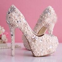 2015 Gorgeous Pearl Wedding Dress Shoes Rhinestone Bridal Shoes High Heel Platform Pumps Light Pink Lady