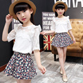 2017 New Big Girls Children's clothing Sets female child set summer twinset half sleeve Lace top short T shirt+skirt summer