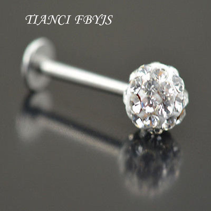 Gold Ion Plated Tragus//Cartilage Stud with CZ Ribbon /& Chained Ball Dangle