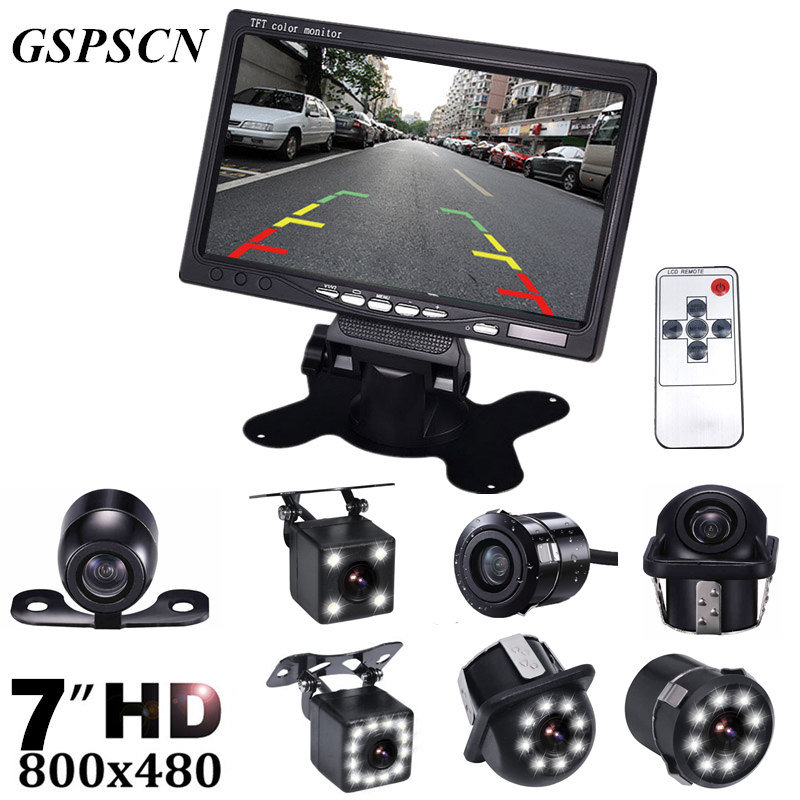 GSPSCN Car Auto Parking Assistance Night Vision Reversing Car Backup Rear View Camera With 7 inch LCD Video Car Rearview Monitor