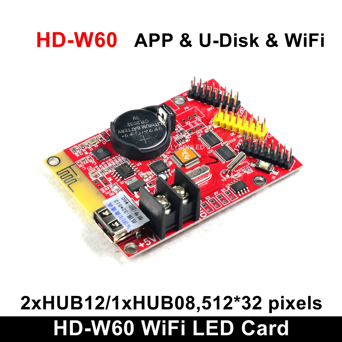 Huidu HD-W60 U-Disk Built-in WiFi Single Color Dual Color LED Display Control Card 32x512 Pixels Support (W61/W62/W63 On Sale)