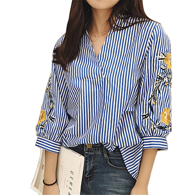Cotton Blouses New Summer Women Shirt Fashion Casual Three Quarter