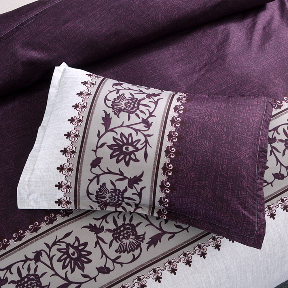 Purple color Comforter floral pattern Quilt polyester Blanket Queen Size 3pcs in Comforters Duvets from Home Garden