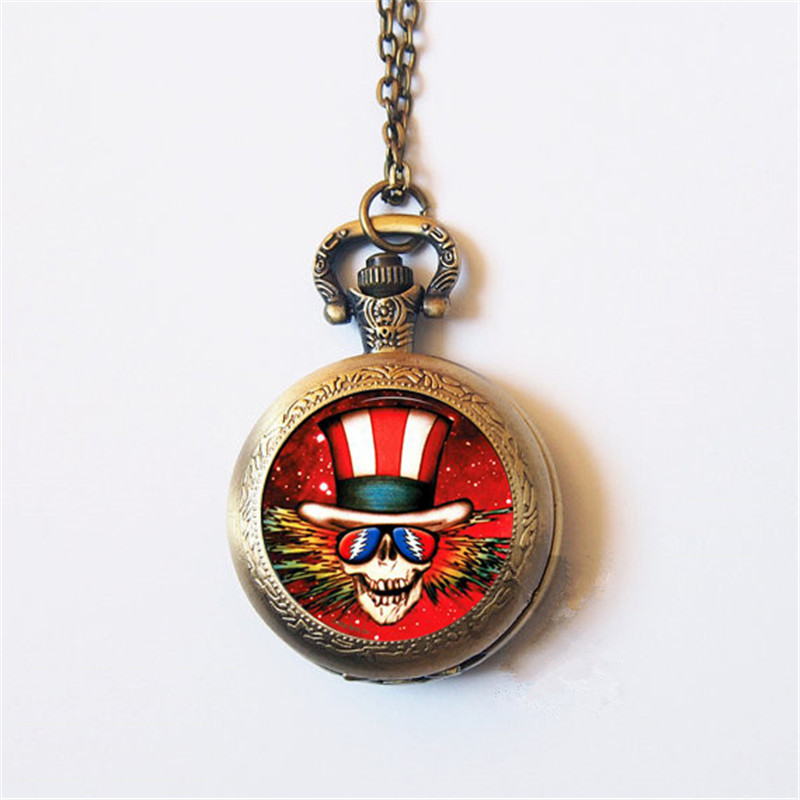 New Fashion The Grateful Dead Glass Photo Cabochon Pocket Watch Necklace Fashion Jewelry