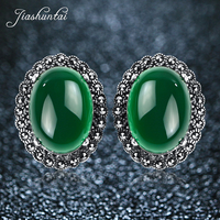 JIASHUNTAI Retro 100% 925 Sterling Silver Earrings For Women Vintage Natural Green Chalcedony Garnet Clip Earring Jewelry Female