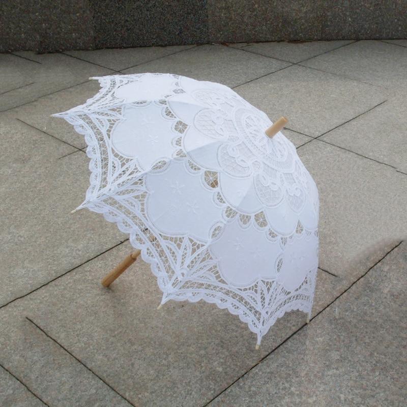 80cm Victorian Lace Embroidery Wedding Umbrella Bridal Parasol, White