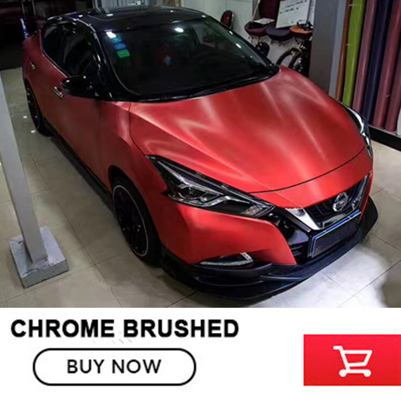 Red Chrome Matt Brushed Vinyl Wrap For Car Body Wrap Foile With air bubbles 20m*152CM per roll free shipping Interior decorate