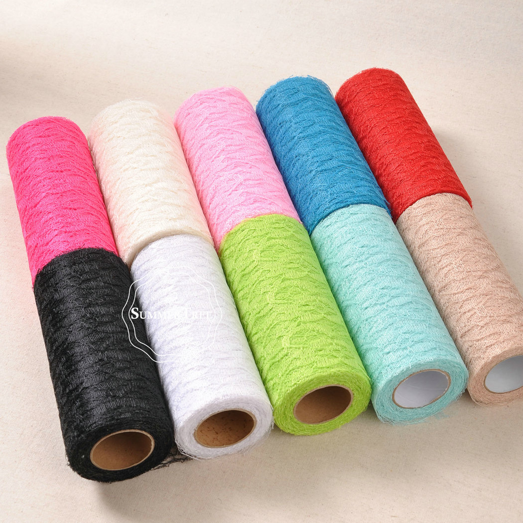 15cm x 10yards Lace Roll Ribbon Netting Fabric Gauze Wedding Party Chair Sash Table Runner Handmade DIY Cratf Decoration-in Lace from Home & Garden