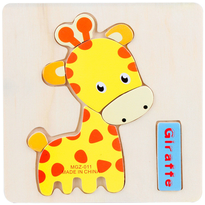 Colorful Wooden Cartoon Animal Jigsaw Toy Kids Baby Boy Girl Early Education Development Learning Puzzles Toy Wholesale Je19#fn #3