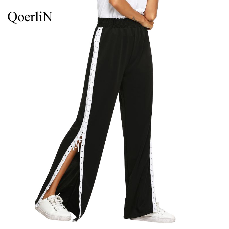 QoerliN S-XL Lace Up   Pants     Capri   Wide Leg Palazzo Sweatpant Women 2018 High Elastic Black Fashion Harajuku Long Trouser Female
