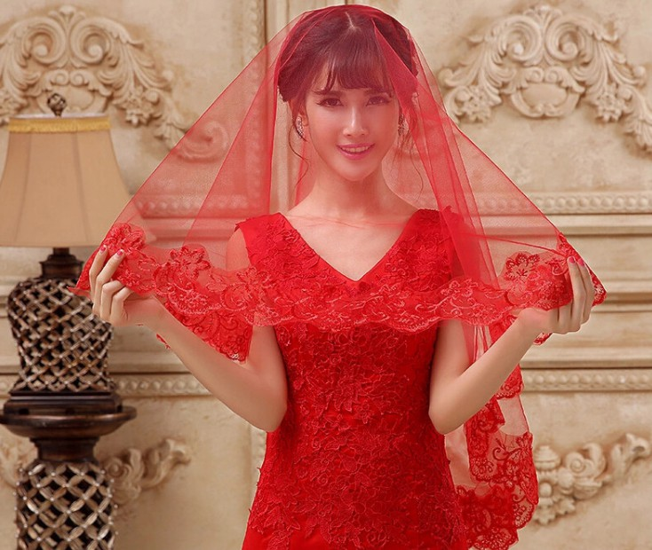 Bridal Hair Decoration One Layer Lace Edge Facial Veil