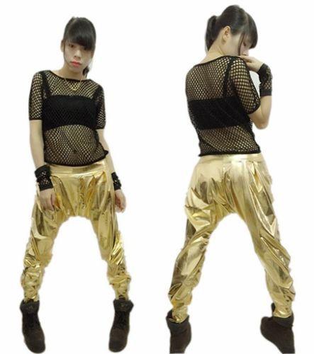 New fashion casual Sweatpants Costumes female wear spliced jazz Paillette  gold  loose Harem Hip Hop Dance Pants