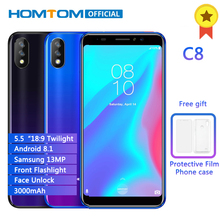 """HOMTOM C8 Face ID Fingerprint 5.5""""18:9 Smartphone MTK6739 Android 8.1 Quad Core Cell phone 2GB RAM 16GB ROM 4G LTE Mobile Phone"""