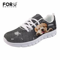 FORUDESIGNS Denim Animal Puppy Dog 3D Print Men Casual Flats Fashion Breathable Air Mesh Shoes for Men Cute Men's Sneakers Flats