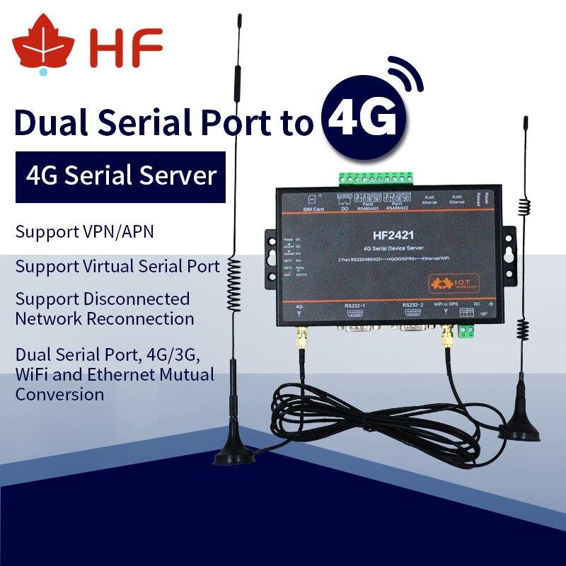 CE 5 pcs/pack Double-Port serveur de périphérique série RS232 RS485 RS422 à Ethernet Wifi 4G 3G GPRS convertisseur de réseau HF2421 connecteur