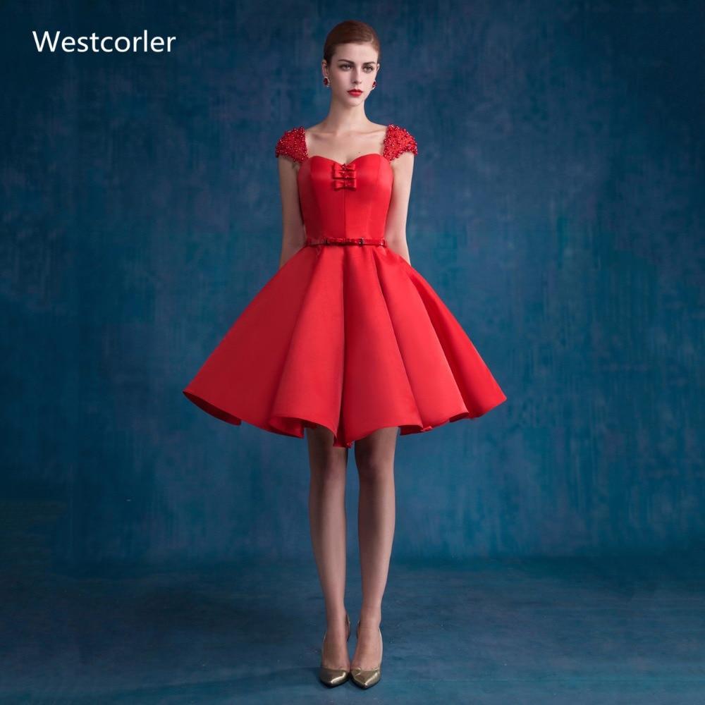 2017 Westcorler Satin Rot Homecoming Kleid Mit Perlen Perlen Kurz Partei Abschlussball-kleider