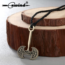 Cxwind Axe Amulet Pendant Viking Runes Axe Charm Necklace Pendant Talisman Jewelry for Man Antique Bronze Plated Choker(China)