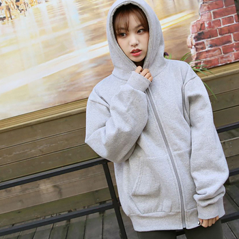 Spring Fashion Hooded Outwear Hoodies Women Casual Tie Collar Long Sleeve Zip-up Sweatshirts Loose Ladies Streetwear Tops Winter