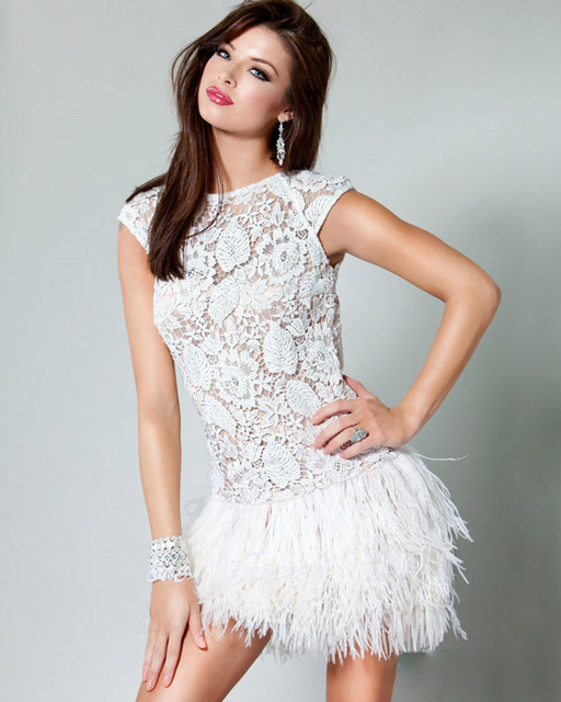 New Special Perspective Lace Elegant Chic Puffy Feather Skirt Simple Style Mine Sexy Cocktail Dresses 2016 Straight  Party Dress