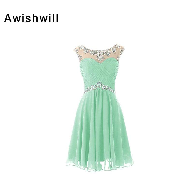 Sexy Short Cocktail Dresses Open Back Beaded Chiffon Mint Green