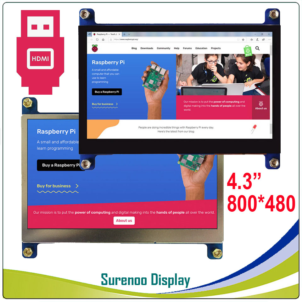 4.3 4.3 inch 800*480 TFT HDMI USB Capacitive Touch Panel LCD Module Display Monitor Screen for Raspberry Pi