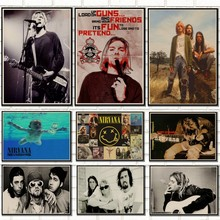 Vintage posterler Kurt Cobain/Nirvana frontman/kaya vintage poster / retro kraft posterler çubuğu dekoratif boyama/5065