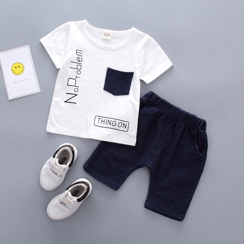 Baby boys set brand summer infant clothes sets t-shirt+pants suit clothing set Letter printed clothes newborn sport suits